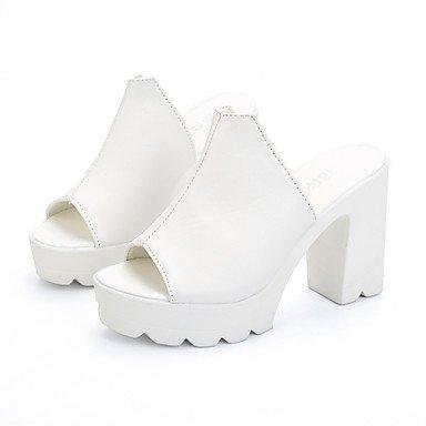 LvYuan Damen-Sandalen-Büro Kleid Party & Festivität-PU-Blockabsatz-Fersenriemen-Schwarz Weiß White