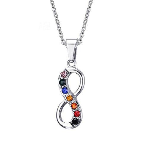 PAURO Damen Edelstahl Akzent Infinity Anhänger Halskette Mit Regenbogen Runde Zirkonia (Regenbogen-akzenten Runde)