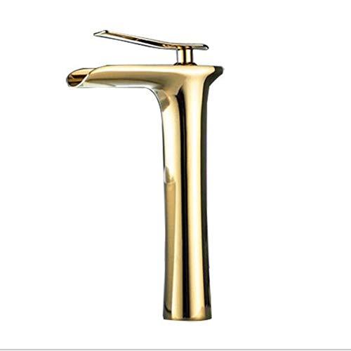 BFDMY Europäischen Antike Weinglas Form Wasserhahn Waschtischarmatur Hoch Wasserfall Solide Kupfer Bad Armatur für Badezimmer Waschbecken Mischbatterie,Gold,High