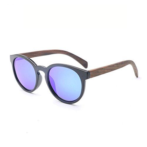 YXF Sonnenbrille Sonnenbrille polarisiert Farbe Objektiv Schwarz Rahmen Holz Beine Outdoor Fahren Sport UV Blendfreie Damen und Herren Brille polarisierte Black Frame Blue Lens