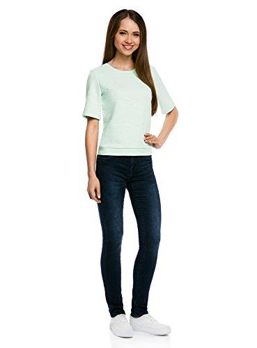 oodji Collection Damen Sweatshirt aus Strukturiertem Stoff mit Kurzen Ärmeln Grün (6500N)
