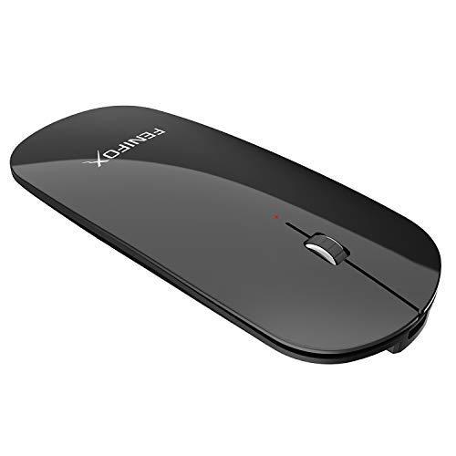 FENIFOX Bluetooth Maus, Kabellose Wiederaufladbar Mouse Wireless Schnurlos 3D Optische Dünn Flach Slim Mini Klein Tragbare Leise Auf Reisen Für Laptop Computer Pc Notebook (Schwarz) (Mini Wireless Maus Laptop)
