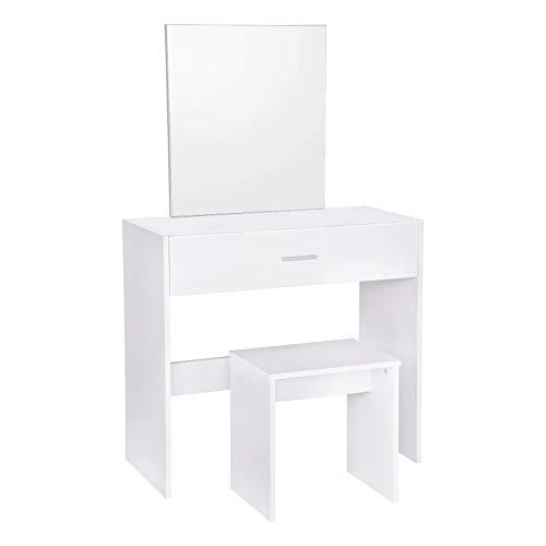 WOLTU MB6043ws Coiffeuse Table avec Miroir et tiroir + Coiffeuse Tabouret,Blanc