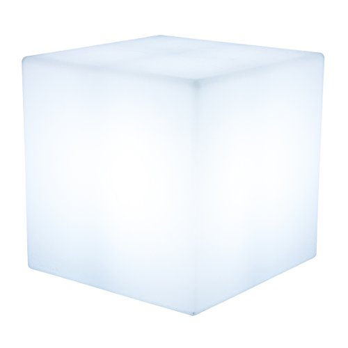 ekowürfel beleuchtet Shining Cube (E27, 43 cm groß, Indoor & Outdoor, UV-, regen- und frostfest, Gartenleuchte, Lichtwürfel, Würfelhocker, Deko Gartenparty) weiß (Tisch Lampe, Klein)
