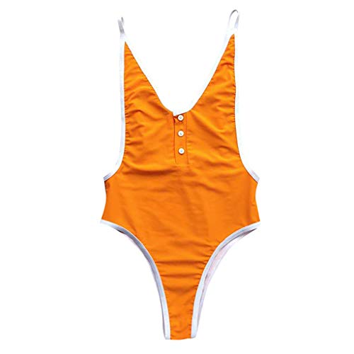 XNBZW Einteilige Frauen V Neck Tanga Bikini Monokini Badeanzug Bademode Bade Beachwear(L,Gelb)