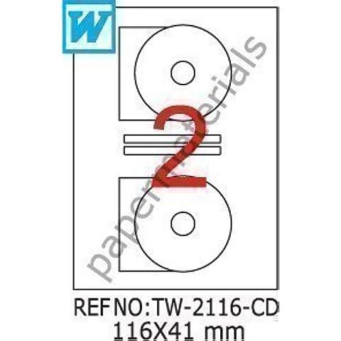 TANEX TW-2116 DVD/CD/Blu-ray Etichette multimediale bianco 116 x 41 mm 100 Fogli (Getto D'inchiostro Bianco Cd Dvd Etichette)