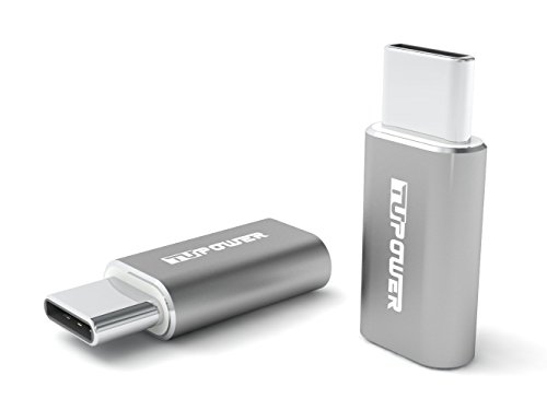 TUPower A05 2X USB Type C Adapter zu Micro USB mit ALU für Samsung S9 S8 Plus A8 A8+ 2018 A7 A5 A3 Tab S3 2017 Huawei Mate 9 10 Pro P20 P10 P9 Plus LG G5 G6 V30 HTC U11 Honor View 10 OTG Konverter (Gehäuse Switch Adapter)