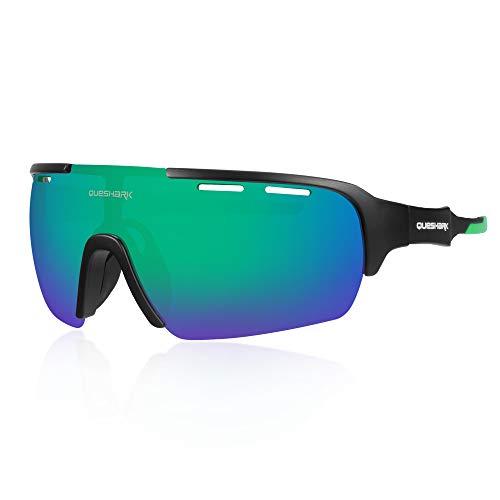 QUESHARK Gafas de Ciclismo para Hombre Mujer Bicicleta de Carretera 1 Lente Polarizada 3 HD UV400 Lente