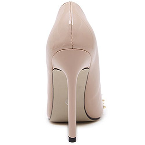 Oasap Women's Low Top Pointed Toe Rivet Slip-on Stiletto Pumps apricot