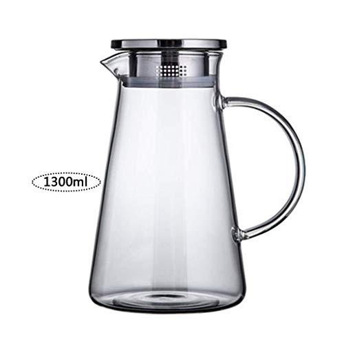 Glaskrug Mit Deckel, Eisteekanne Große Kapazität Und Haltbar Ist Sehr Geeignet Für Eistee Wein Kaffee Milch Und Saft Trinken Flasche Geschenk NA (Size : 21×12cm)
