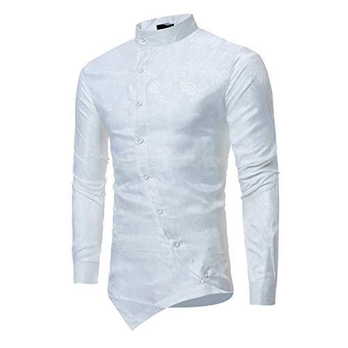 Top Jacke Zz Kostüm - ESAILQ Männer Frühling Irraguler Slim Fit Langarm Printed Muscle T-Shirt Top Bluse(Medium,Weiß)
