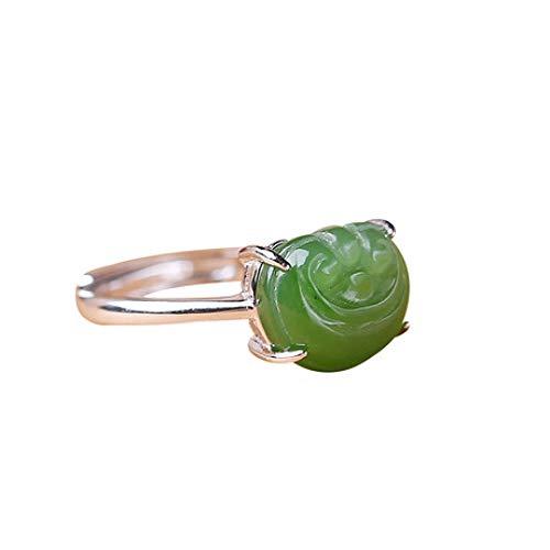 Mayanyan S925 Sterling Silber Ring kreative natürliche Jaspis einstellbare Verlobungsring Jade Größe 9 * 11 Damen Ring Schmuck (Damen 9 Fashion Ringe Größe)