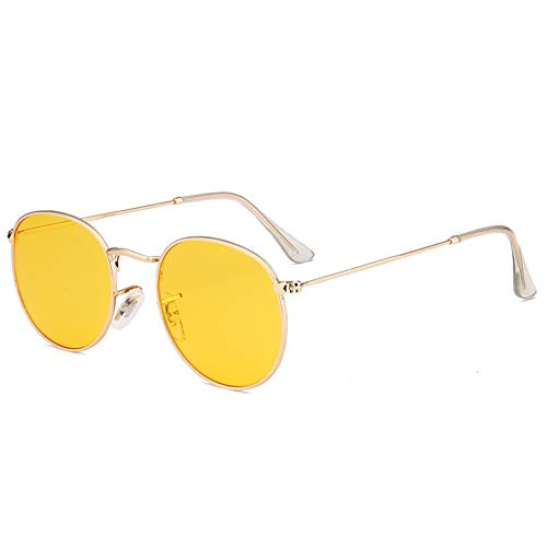 Modolady Damenmodebrille Europa und die Vereinigten Staaten Neue Brillenmode runder Rahmen Persönlichkeit progressive Film-Sonnenbrille, transparent gelb