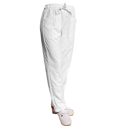 TCD GROUP TRENDY LINE Pantalone da lavoro pantalaccio con elastico (XL, BIANCO)