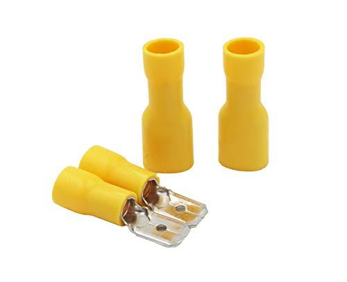 Grapelet Gelbe Flachsteckhülsen, isoliert Crimp-Klemmen für elektrischen Leitungen,100 Stück,50x Buchse und 50x Stecker