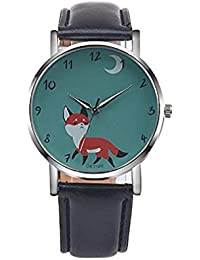 ¡Promoción!Womens Quartz Watches Clearance Fox Female Watches Comfortable Leather Lady Watches (Negro