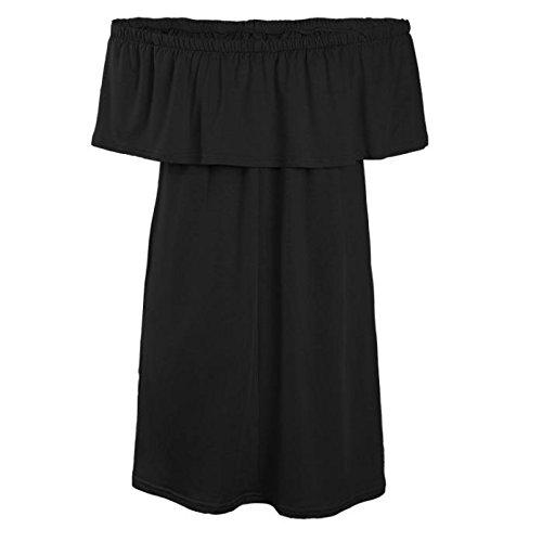 Malloom Femmes Sexy Manches Longues Dentelle Florale Dos Nu Soirée Mini Robe (M) Noir