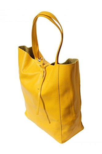 SUPERFLYBAGS Borsa Donna Shopper a Spalla In Vera Pelle modello Elba Made In Italy Giallo
