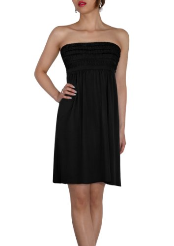Sodacoda Beach Strapless Summer Holiday Dress knee lenght - all colours - One size (UK 8-12) Black