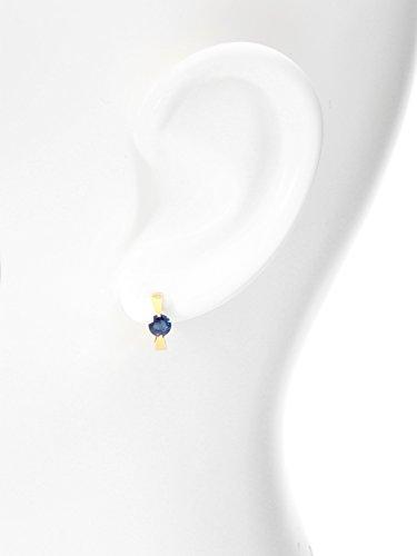 MyGold Edelstein Creolen Ohrringe Gelbgold 375 / 585 Gold (9 Karat / 14 Karat) Saphir Blautopas Topaz Ø 10mm Mini Goldohrringe Ohrschmuck Damenohrringe Geschenk Für Frauen Peach Beauty MOD-04241