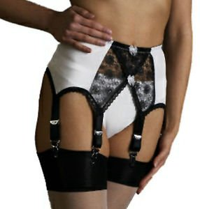 Elaine Edwards Lace Crossover Suspender/Garter Belt 6 Straps