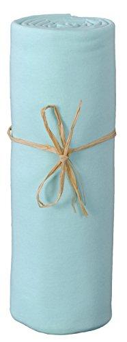 P'tit Basile - Drap housse bébé 40x80 cm, turquoise, en Jersey de coton Bio, pour berceau ou nacelle, extensible. Coton peigné de qualité supérieure