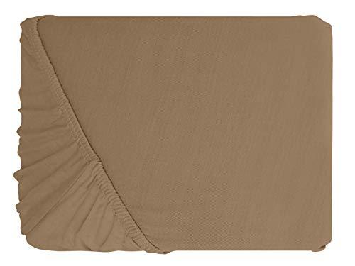 npluseins klassisches Jersey Spannbetttuch – erhältlich in 34 modernen Farben und 6 verschiedenen Größen – 100% Baumwolle, 90-100 x 200 cm, hellbraun - 2