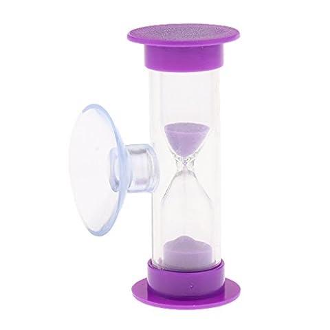 Gazechimp 3 Minuten Sanduhr Zahnputzuhr, Eieruhr aus Kunststoff & Glas & Sand, Timer für Kochen, Zimmer, Wohnzimmer, Waschraum Deko - Lila