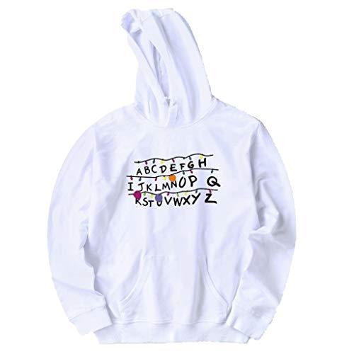 WORMENG Herren Winter Brief gedruckt lässig Hoodie Sweatshirt Langarm Bluse Tops Bluse Top Basic Hemd Casual Sommer Lässige (Herr Monopoly Mann Kostüm)