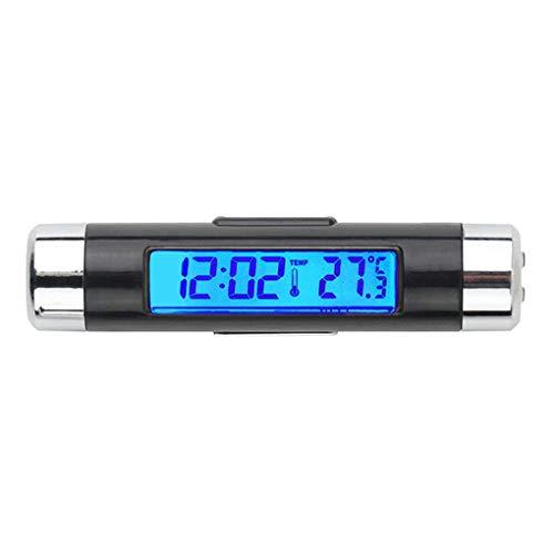 Bomcomi 2 in 1 Auto-Digital-LCD-Temperatur-Taktgeber Zubehör Stechuhr Entlüfterelement Outlet Clip On Thermometer