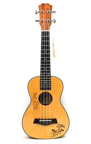 Produktbild LFDYKLL Konzert-Ukulele 23 Spruce Hawaiian 4 Strings Guitar Electric Ukelele Butterfly-Liebesblumenmuster mit Kleiner Gitarre