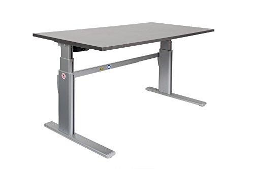 Ergonomischer Schreibtisch elektrisch höhenverstellbar | höhenverstellbarer Bürotisch Workstation Arbeitstisch Bürotisch Büromöbel (160 x 80 cm, Anthrazit) +