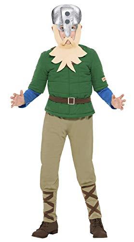 Smiffys 27034L - Horrible Histories Viking Junge-Kostüm mit Top-Hose und Helm mit angebrachtem Bart, grün