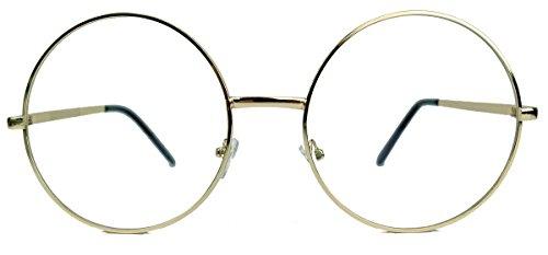 Große runde Fashion Brille Nerdbrille im Blogger Style Klarglas LR63 (Gold)