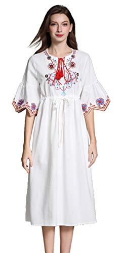 Damen Frauen Vintage Sommerkleider Kleid Mexikanischen Ethnischen Bestickt Minikleid Blume Stickerei Kleid (M, Weiß 2) -