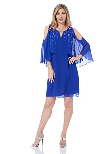 Roman Originals Damen glitzerndes Kleid mit Chiffon-Overlay - Damen knielanges Cocktail-Kleid mit 3/4-Arm, zum Ausgehen, für abends, Partys - Royal Blue - Größe 38 -