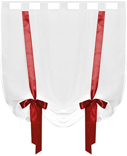 Raffgardine mit Schlaufen 80x160 cm Auswahl: rot - Scarlet