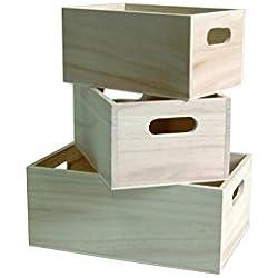 Juego de 3 cajas para almacenamiento, color beige