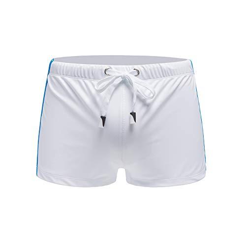 Meerway Badehose Herren Badeshorts Trunks Männer Surfen Sexy Swim Shorts mit verstellbarem Tunnelzug weiß