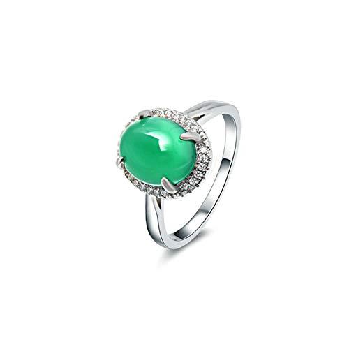 Beglie 925 Sterling Silber Damen Ring Solitärring Verlobung Hochzeit Ring Oval Ring Frauen Schwarz Silber Grün Diamantring Memory Größe 52 (16.6)