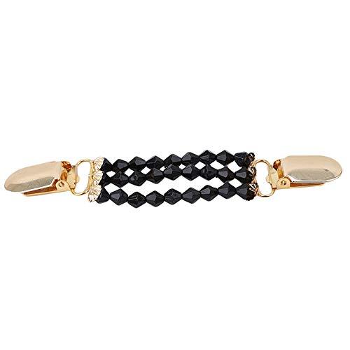 Kimballkq Blanco Aleación Negro Clips de pato Con cuentas Flexibles Suéter de perlas Cardigan Collar Ropa Decoración