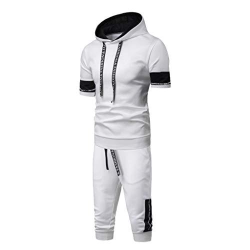 Tenue de Sport Homme 2 Pièces Sweat Ensemble Top Pantalons Survêtements Homme Ensemble Sport Suit Top Slim Fit Sportswear Sweat Capuche Sweatshirt + Pantacourt