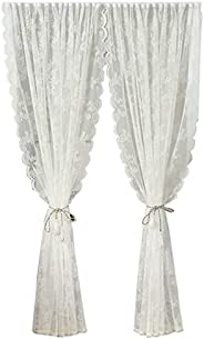 Arabest Lace Sheer Curtains - 1 Piece White Floral Rose Knitted Woven Transparent Curtain Easy to Install Curt