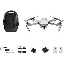 DJI - Mavic Pro Fly More Combo Platinum (Version UE) | Incl. 1 Drone Quadricoptère, 1 Batterie de Vol Intelligente, 1 Radiocommande, 1 Chargeur Voiture & Autres | Photos & Vidéos en Haute Résolution