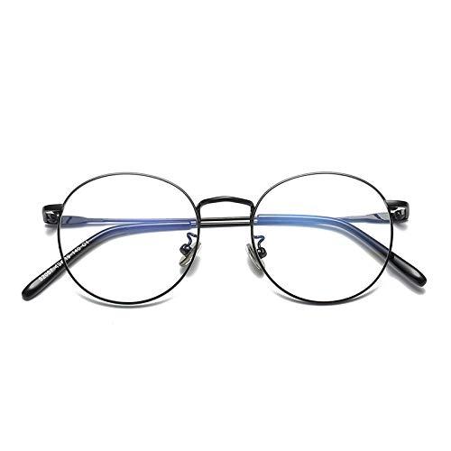 YMTP Frauen-Männer-Grad-Schutzbrillen-Rahmen-Weinlese-Runde Gläser Mit Transparenten Gläsern Edelstahl-Schauspiel-Rahmen Für Frauen, Dumb Schwarzes