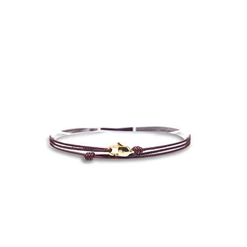 Made by Nami Dünnes Wickel-Armband Herren & Damen mit Karabiner-Haken Verschluss Handmade - Maritimer Surfer Schmuck - Minimalistisches Stoff-Armband - 100% Wasserfest & verstellbar (Weinrot Gold)