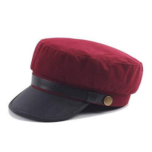 LMZXH&M Militärmütze Winter Pu Leder Sonnenhut Schwarzer Hut Matrosen, Rot (Matrose Rote Hut)