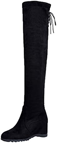 Women Solid Over Knee Long Boot ❀ Ladies Lace up Increased Over Elastic Stretch Platform Shoes Booties
