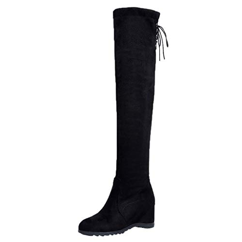 Overknee Stiefel Keilabsatz Über Knie Stiefel Frauen über elastische Stretch Plateauschuhe Stiefel erhöht -