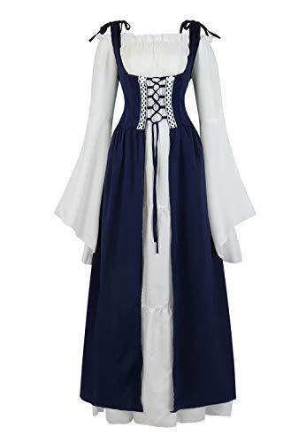 aizen Mittelalter Kleid Renaissance Damen mit Trompetenärmel Party Kostüm bodenlang Vintage Retro Costume Cosplay Blau XL
